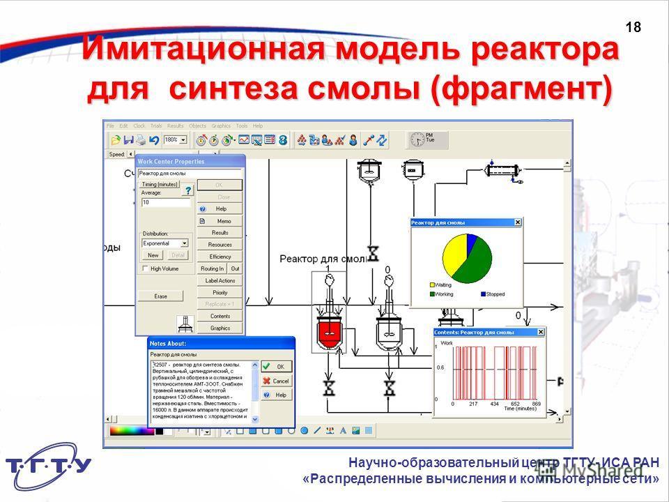 Имитационная модель реактора для синтеза смолы (фрагмент) Научно-образовательный центр ТГТУ- ИСА РАН «Распределенные вычисления и компьютерные сети» 18