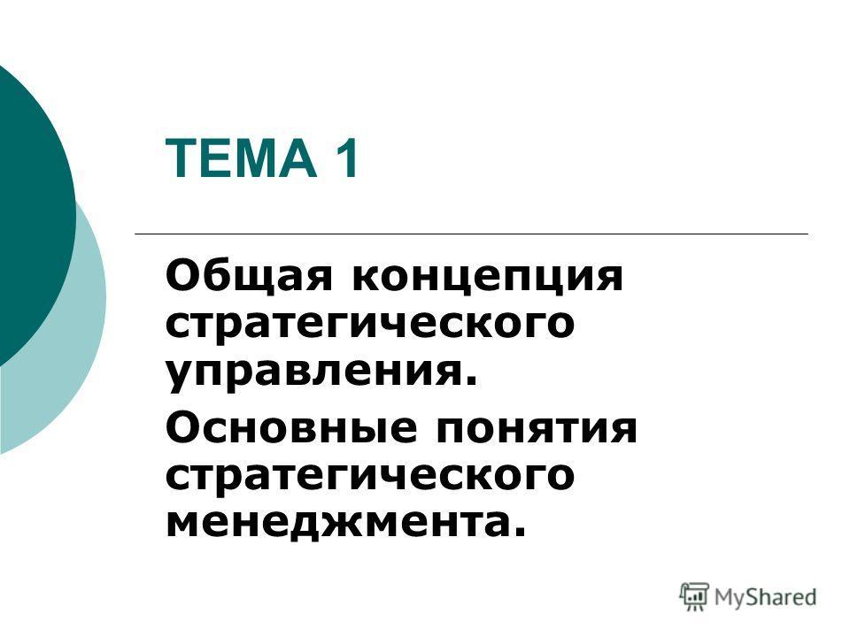 ТЕМА 1 Общая концепция стратегического управления. Основные понятия стратегического менеджмента.