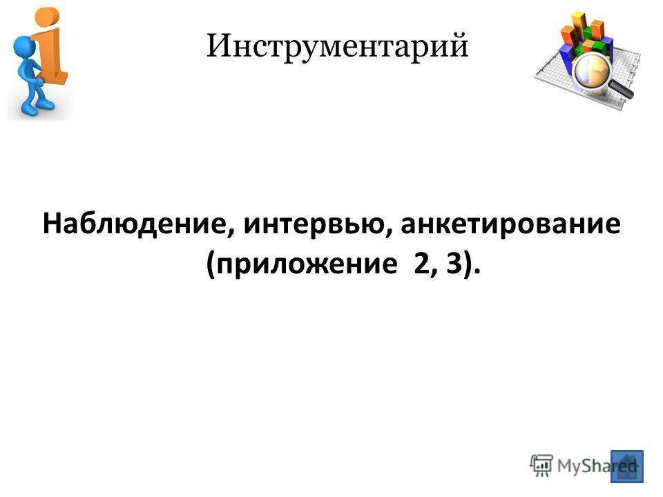 Инструментарий Наблюдение, интервью, анкетирование (приложение 2, 3).