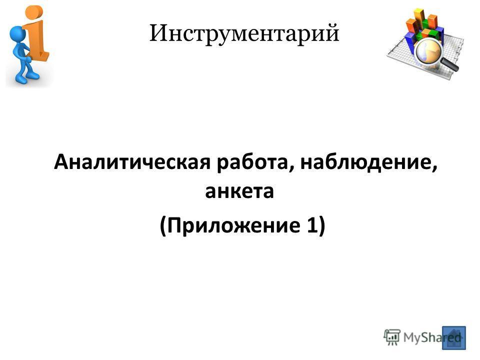Инструментарий Аналитическая работа, наблюдение, анкета (Приложение 1)