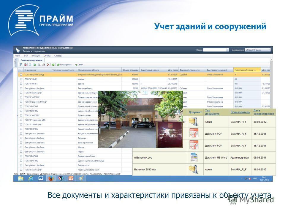 Все документы и характеристики привязаны к объекту учета Учет зданий и сооружений
