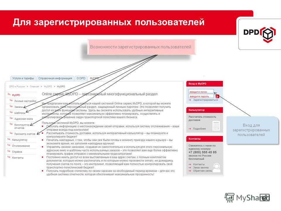 Для зарегистрированных пользователей Вход для зарегистрированных пользователей Возможности зарегистрированных пользователей