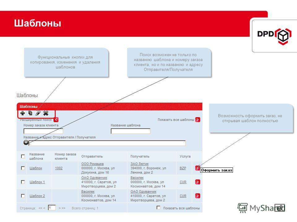 Шаблоны Возможность оформить заказ, не открывая шаблон полностью Функциональные кнопки для копирования, изменения и удаления шаблонов Поиск возможен не только по названию шаблона и номеру заказа клиента, но и по названию и адресу Отправителя/Получате
