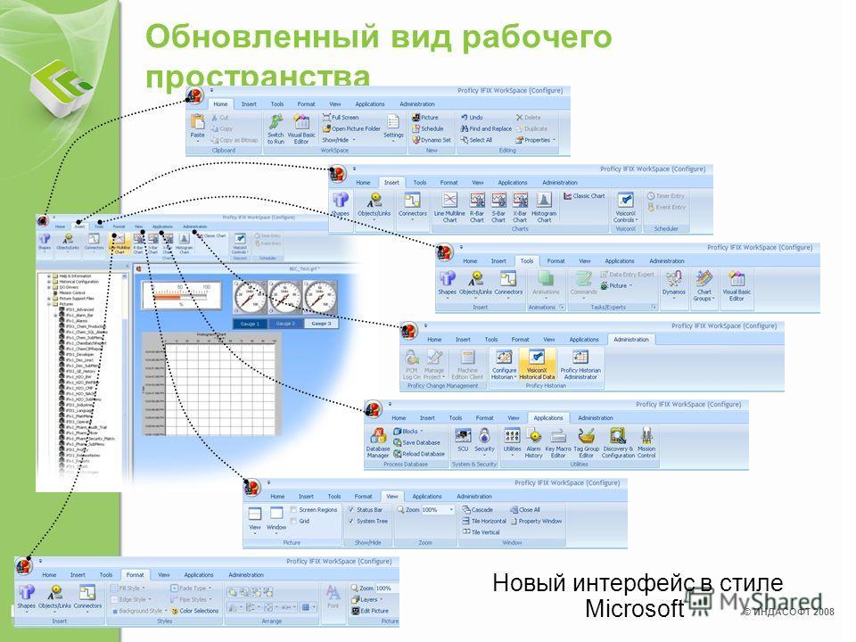 © ИНДАСОФТ 2008 Обновленный вид рабочего пространства Новый интерфейс в стиле Microsoft