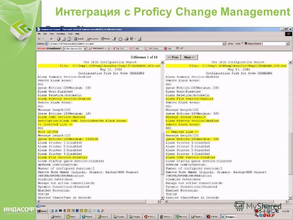 © ИНДАСОФТ 2008 Интеграция с Proficy Change Management Proficy Change Management – программное обеспечение для контроля за изменениями версий файлов проекта Интеграция из iFIX Workspace Подключиться к Proficy Change Management Check Files In («Забрат