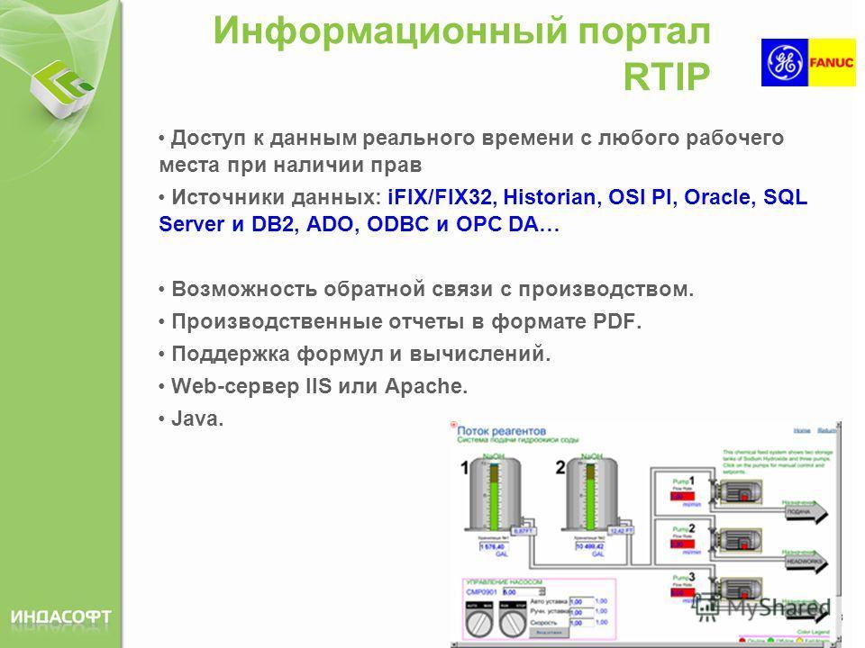 Информационный портал RTIP Доступ к данным реального времени с любого рабочего места при наличии прав Источники данных: iFIX/FIX32, Historian, OSI PI, Oracle, SQL Server и DB2, ADO, ODBC и OPC DA… Возможность обратной связи с производством. Производс