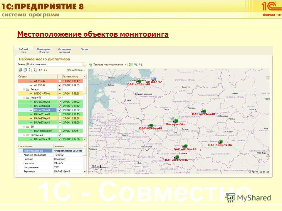 1С:Управление автотранспортом Слайд 12 из [60] Местоположение объектов мониторинга