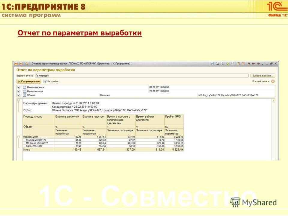1С:Управление автотранспортом Слайд 16 из [60] Отчет по параметрам выработки