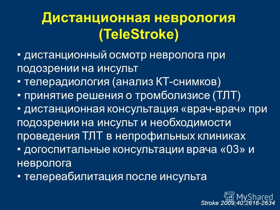 Дистанционная неврология (TeleStroke) дистанционный осмотр невролога при подозрении на инсульт телерадиология (анализ КТ-снимков) принятие решения о тромболизисе (ТЛТ) дистанционная консультация «врач-врач» при подозрении на инсульт и необходимости п