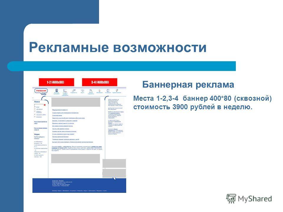 Рекламные возможности Баннерная реклама Места 1-2,3-4 баннер 400*80 (сквозной) стоимость 3900 рублей в неделю.