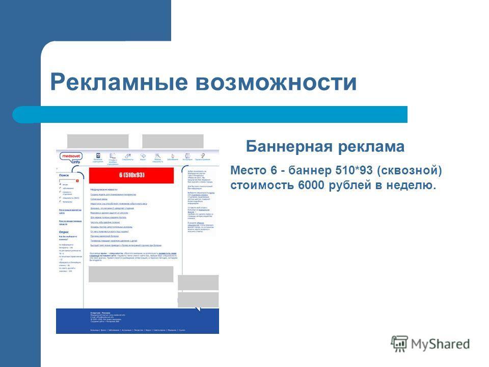 Рекламные возможности Баннерная реклама Место 6 - баннер 510*93 (сквозной) стоимость 6000 рублей в неделю.