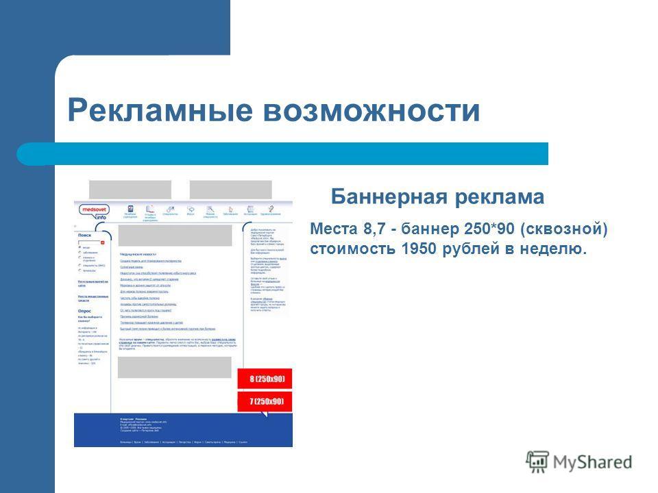 Рекламные возможности Баннерная реклама Места 8,7 - баннер 250*90 (сквозной) стоимость 1950 рублей в неделю.