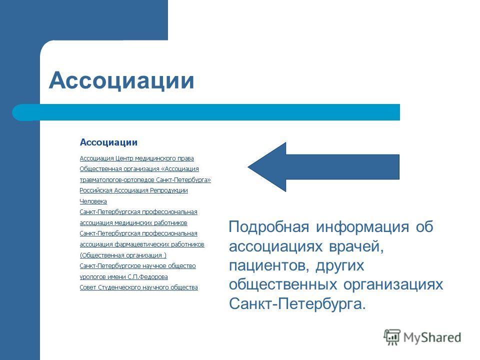 Ассоциации Подробная информация об ассоциациях врачей, пациентов, других общественных организациях Санкт-Петербурга.