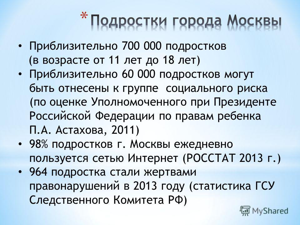 Приблизительно 700 000 подростков (в возрасте от 11 лет до 18 лет) Приблизительно 60 000 подростков могут быть отнесены к группе социального риска (по оценке Уполномоченного при Президенте Российской Федерации по правам ребенка П.А. Астахова, 2011) 9