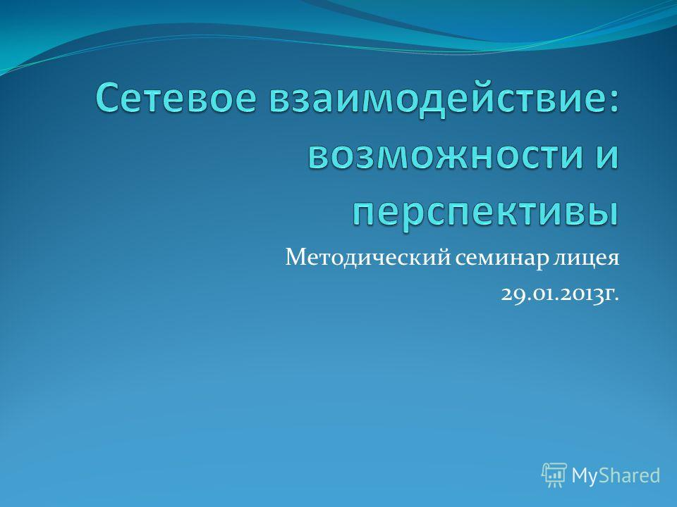 Методический семинар лицея 29.01.2013 г.