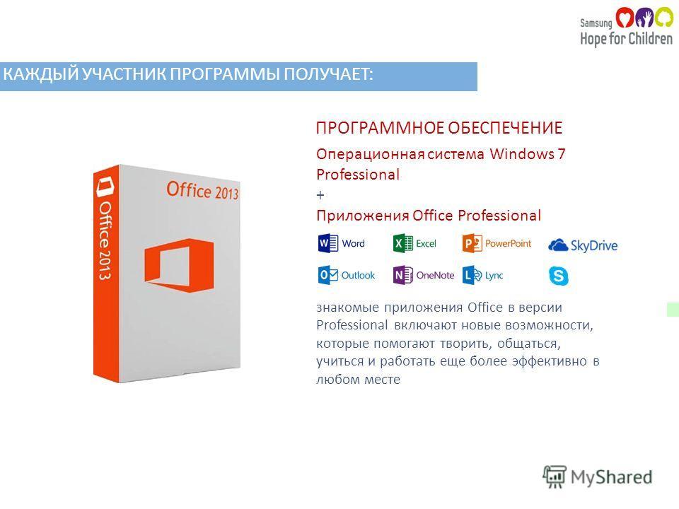 ПРОГРАММНОЕ ОБЕСПЕЧЕНИЕ Операционная система Windows 7 Professional + Приложения Office Professional знакомые приложения Office в версии Professional включают новые возможности, которые помогают творить, общаться, учиться и работать еще более эффекти