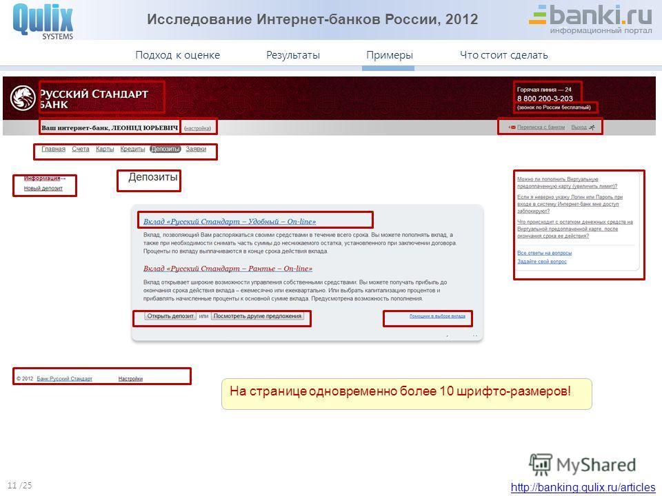 Исследование Интернет-банков России, 2012 http://banking.qulix.ru/articles Что стоит сделать ПримерыПодход к оценке /25 Результаты Примеры. Русский Стандарт 11 На странице одновременно более 10 шрифто-размеров!