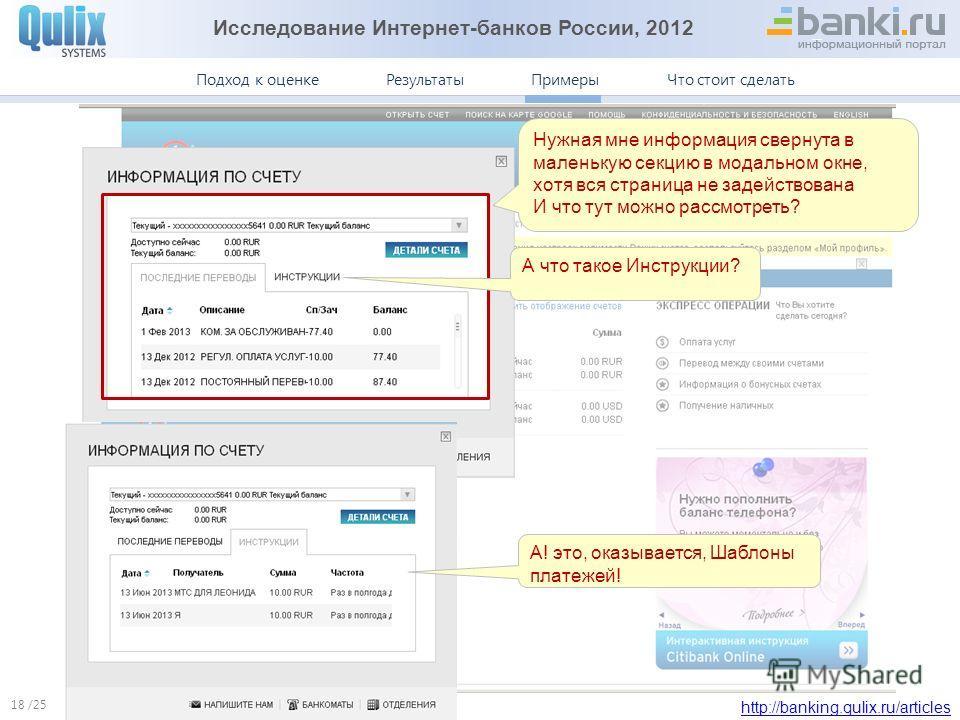 Исследование Интернет-банков России, 2012 http://banking.qulix.ru/articles Что стоит сделать ПримерыПодход к оценке /25 Результаты Примеры. Ситибанк 18 Нужная мне информация свернута в маленькую секцию в модальном окне, хотя вся страница не задейство