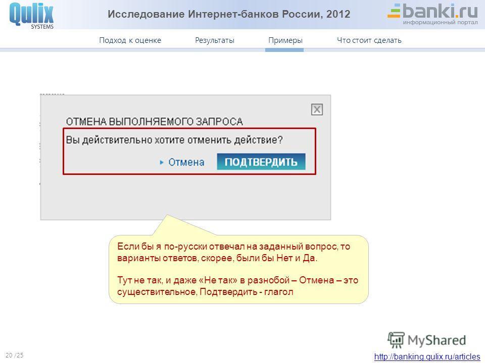 Исследование Интернет-банков России, 2012 http://banking.qulix.ru/articles Что стоит сделать ПримерыПодход к оценке /25 Результаты Примеры. Ситибанк 20 Если бы я по-русски отвечал на заданный вопрос, то варианты ответов, скорее, были бы Нет и Да. Тут