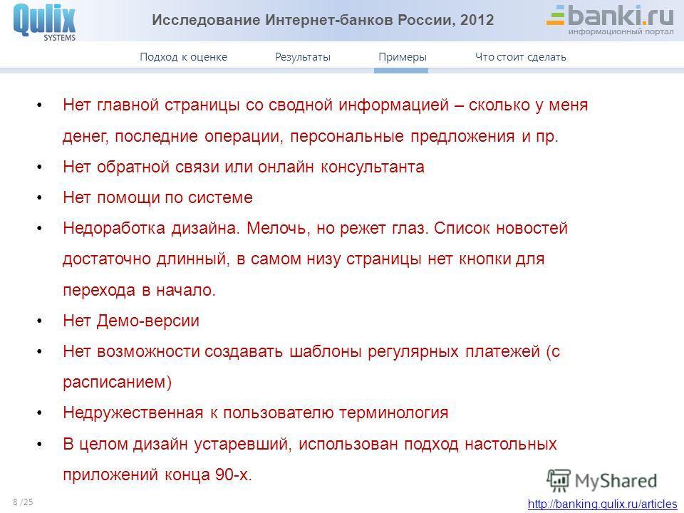 Исследование Интернет-банков России, 2012 http://banking.qulix.ru/articles Что стоит сделать ПримерыПодход к оценке /25 Результаты Примеры. Авангард 8 Нет главной страницы со сводной информацией – сколько у меня денег, последние операции, персональны