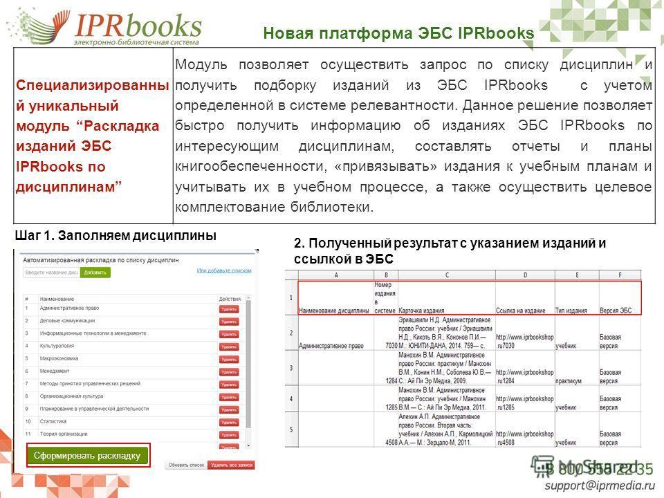 Новая платформа ЭБС IPRbooks Специализированны й уникальный модуль Раскладка изданий ЭБС IPRbooks по дисциплинам Модуль позволяет осуществить запрос по списку дисциплин и получить подборку изданий из ЭБС IPRbooks c учетом определенной в системе релев
