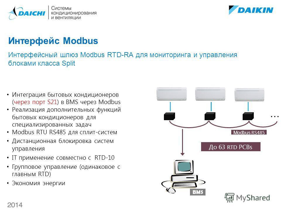 BMS До 63 RTD PCBs Modbus RS485 Modbus RTU RS485 для сплит-систем Дистанционная блокировка систем управления IT применение совместно с RTD-10 Групповое управление (одинаковое с главным RTD) Экономия энергии … Интеграция бытовых кондиционеров (через п