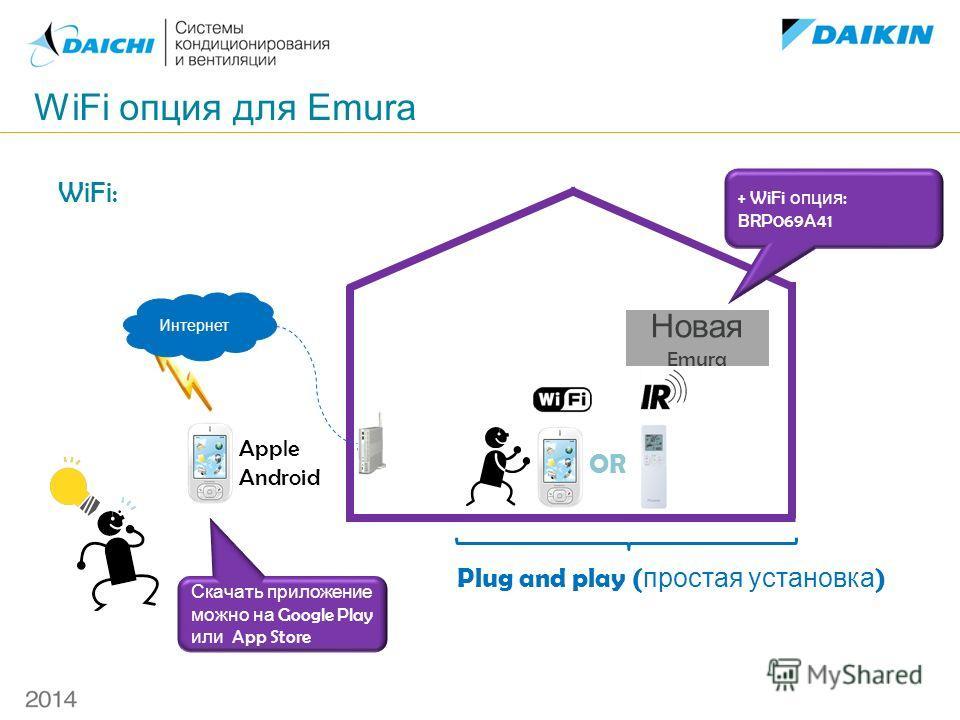 WiFi опция для Emura WiFi: OR Plug and play ( простая установка ) Интернет + WiFi опция : BRP069A41 Скачать приложение можно на Google Play или App Store Apple Android Новая Emura