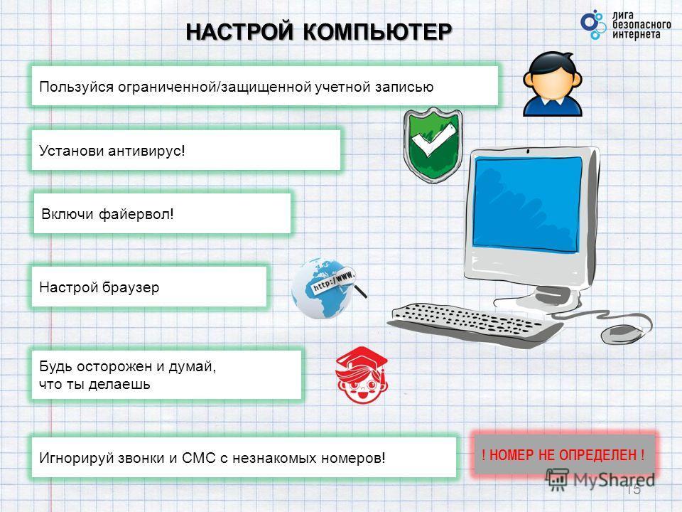 НАСТРОЙ КОМПЬЮТЕР 15 Пользуйся ограниченной/защищенной учетной записью Установи антивирус! Игнорируй звонки и СМС с незнакомых номеров! Включи файервол! Настрой браузер Будь осторожен и думай, что ты делаешь ! НОМЕР НЕ ОПРЕДЕЛЕН !