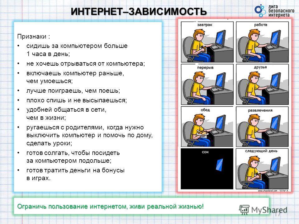 ИНТЕРНЕТ–ЗАВИСИМОСТЬ 17 Признаки : сидишь за компьютером больше 1 часа в день; не хочешь отрываться от компьютера; включаешь компьютер раньше, чем умоешься; лучше поиграешь, чем поешь; плохо спишь и не высыпаешься; удобней общаться в сети, чем в жизн