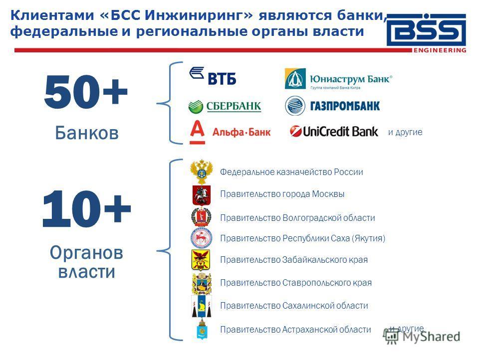 Клиентами «БСС Инжиниринг» являются банки, федеральные и региональные органы власти 50+ Банков 10+ Органов власти и другие Правительство Забайкальского края Правительство Республики Саха (Якутия) Правительство Волгоградской области Правительство горо