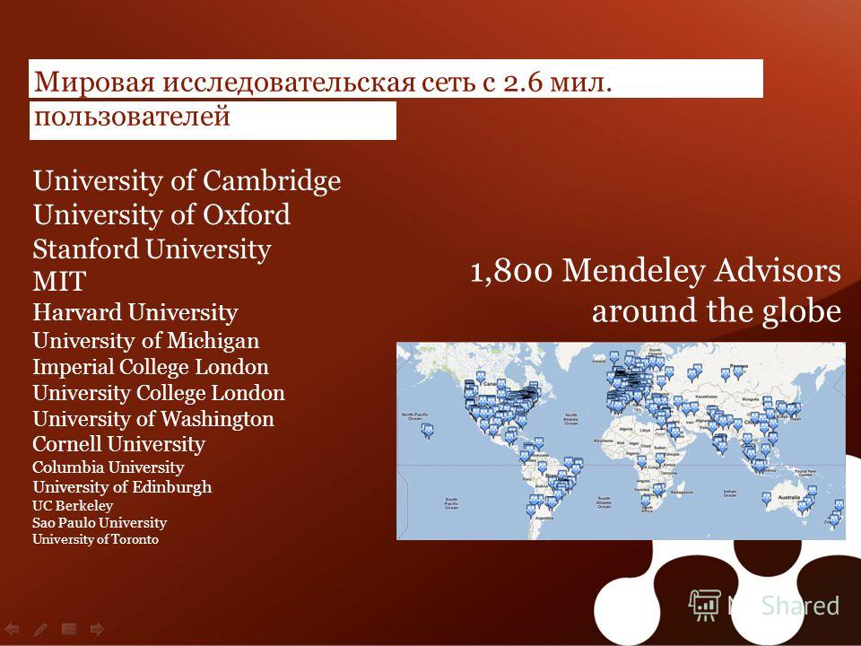 | 25 Мировая исследовательская сеть с 2.6 мил. пользователей University of Cambridge University of Oxford Stanford University MIT Harvard University University of Michigan Imperial College London University College London University of Washington Cor
