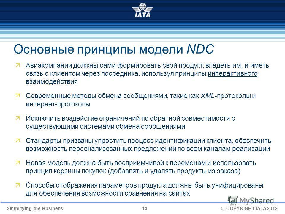 Simplifying the Business 14 COPYRIGHT IATA 2012 Авиакомпании должны сами формировать свой продукт, владеть им, и иметь связь с клиентом через посредника, используя принципы интерактивного взаимодействия Современные методы обмена сообщениями, такие ка