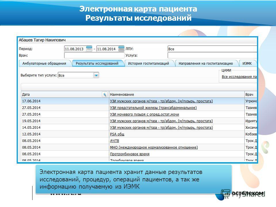 www.rt.ru Электронная карта пациента хранит данные результатов исследований, процедур, операций пациентов, а так же информацию получаемую из ИЭМК Электронная карта пациента Результаты исследований