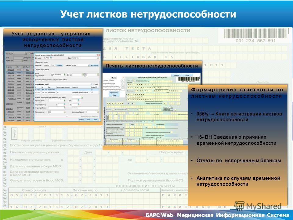 www.rt.ru БАРС Web- Медицинская Информационная Система Учет листков нетрудоспособности Учет выданных, утерянных, испорченных листков нетрудоспособности Печать листков нетрудоспособности Формирование отчетности по листкам нетрудоспособности 036/у – Кн