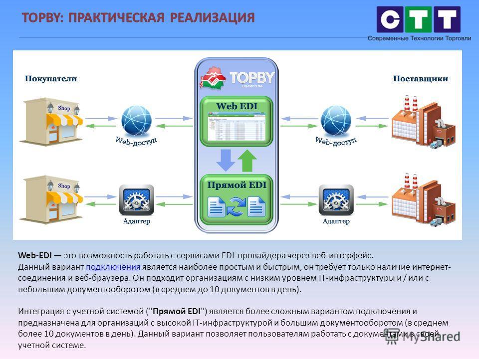Web-EDI это возможность работать с сервисами EDI-провайдера через веб-интерфейс. Данный вариант подключения является наиболее простым и быстрым, он требует только наличие интернет- соединения и веб-браузера. Он подходит организациям с низким уровнем