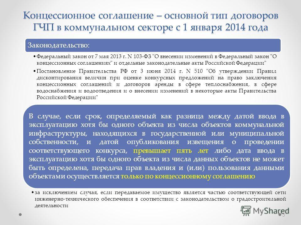 Концессионное соглашение – основной тип договоров ГЧП в коммунальном секторе с 1 января 2014 года В случае, если срок, определяемый как разница между датой ввода в эксплуатацию хотя бы одного объекта из числа объектов коммунальной инфраструктуры, нах