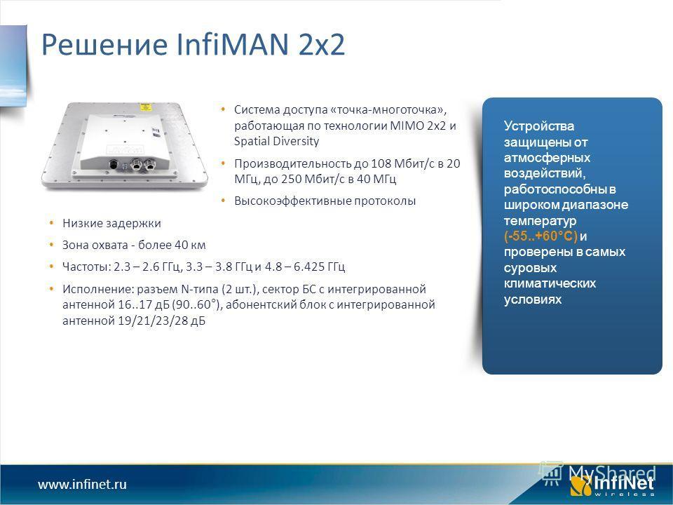 www.infinet.ru Система доступа «точка-многоточка», работающая по технологии MIMO 2x2 и Spatial Diversity Производительность до 108 Мбит/с в 20 МГц, до 250 Мбит/с в 40 МГц Высокоэффективные протоколы Низкие задержки Зона охвата - более 40 км Частоты: