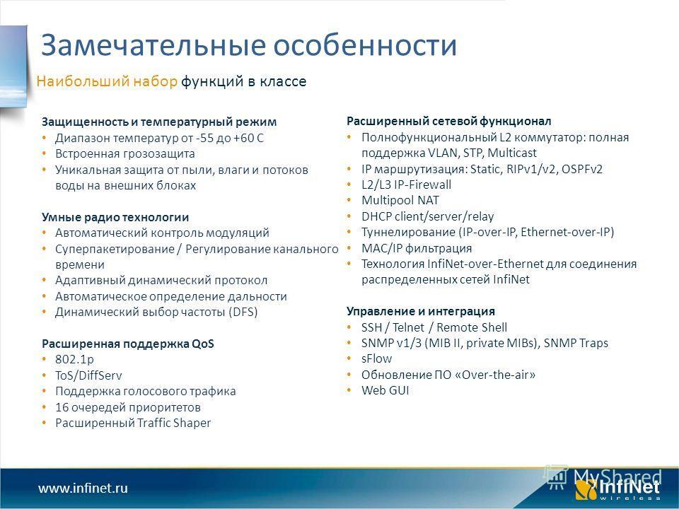 www.infinet.ru Наибольший набор функций в классе Замечательные особенности Расширенный сетевой функционал Полнофункциональный L2 коммутатор: полная поддержка VLAN, STP, Multicast IP маршрутизация: Static, RIPv1/v2, OSPFv2 L2/L3 IP-Firewall Multipool