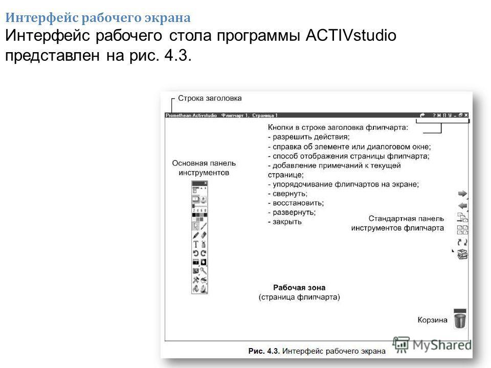 Интерфейс рабочего экрана Интерфейс рабочего стола программы ACTIVstudio представлен на рис. 4.3.