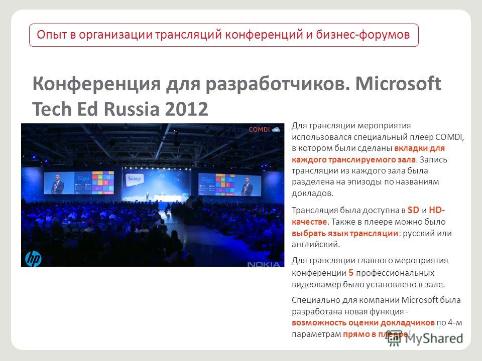 Конференция для разработчиков. Microsoft Tech Ed Russia 2012 Для трансляции мероприятия использовался специальный плеер COMDI, в котором были сделаны вкладки для каждого транслируемого зала. Запись трансляции из каждого зала была разделена на эпизод