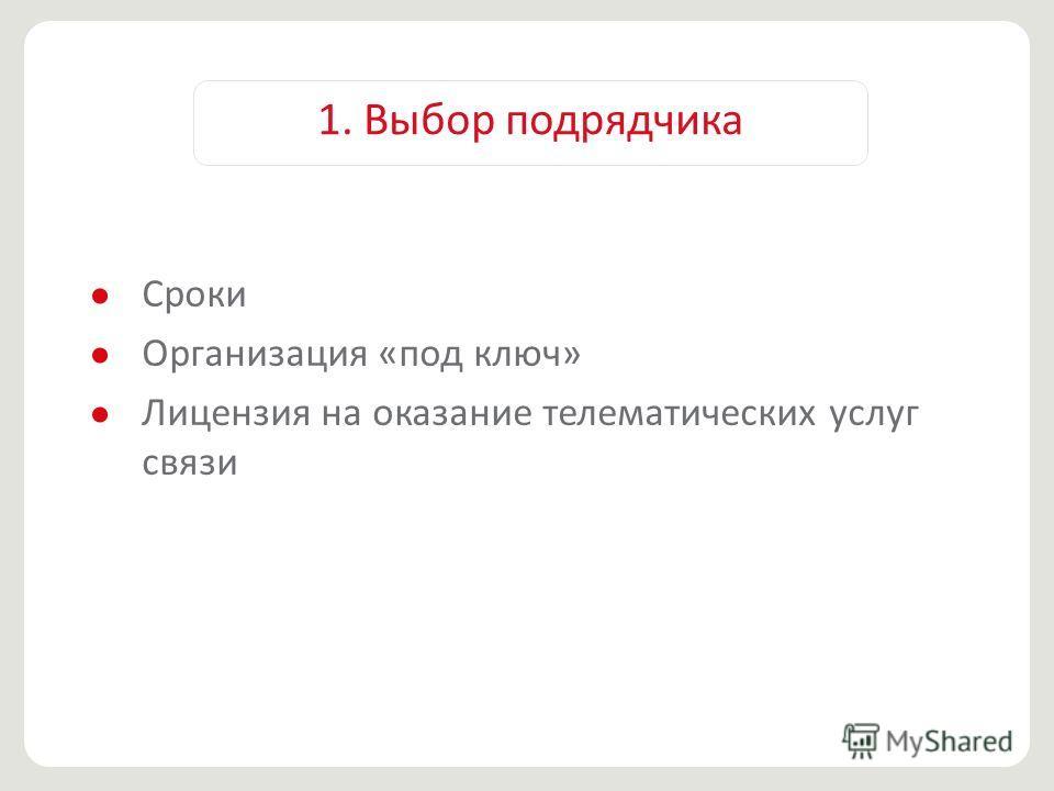 1. Выбор подрядчика Сроки Организация «под ключ» Лицензия на оказание телематических услуг связи