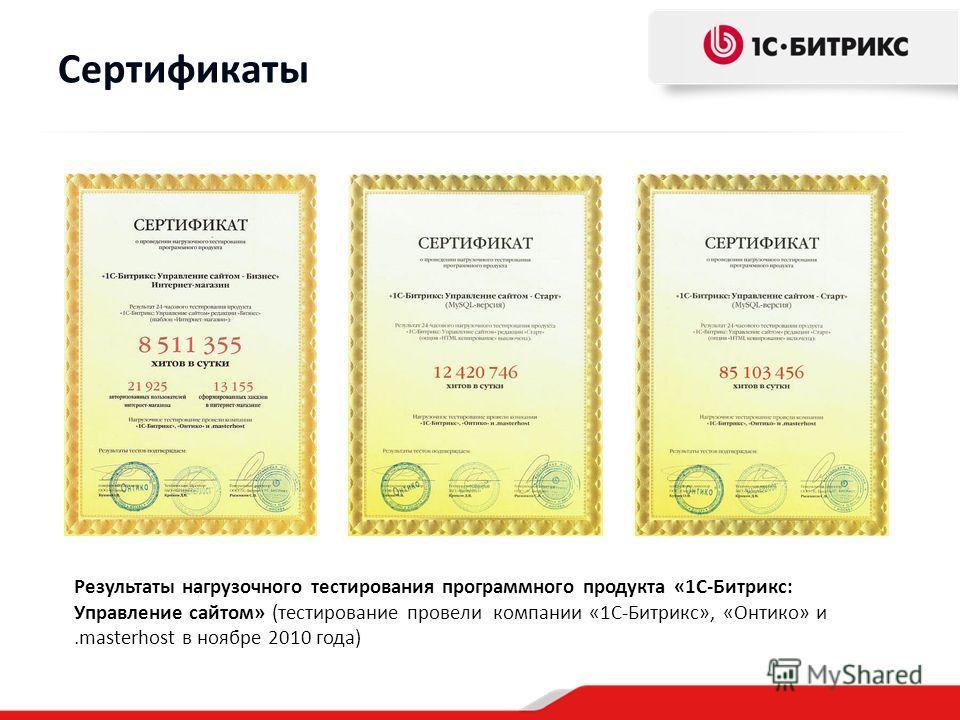 Сертификаты Результаты нагрузочного тестирования программного продукта «1С-Битрикс: Управление сайтом» (тестирование провели компании «1С-Битрикс», «Онтико» и.masterhost в ноябре 2010 года)