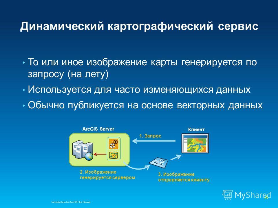 Динамический картографический сервис То или иное изображение карты генерируется по запросу (на лету) Используется для часто изменяющихся данных Обычно публикуется на основе векторных данных Introduction to ArcGIS for Server ArcGIS Server 3. Изображен