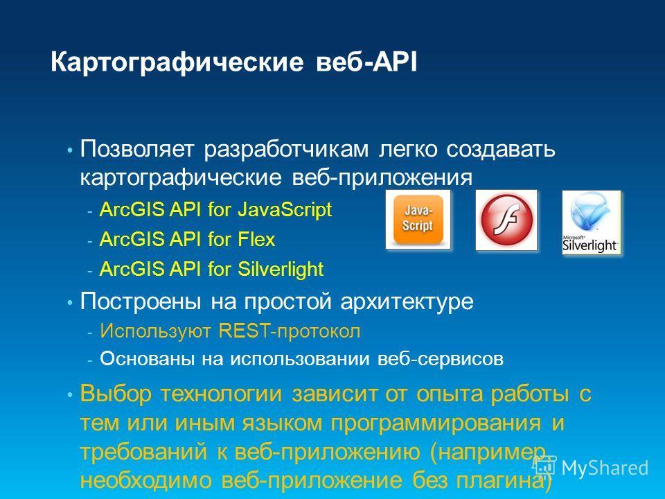 Картографические веб-API Позволяет разработчикам легко создавать картографические веб-приложения - ArcGIS API for JavaScript - ArcGIS API for Flex - ArcGIS API for Silverlight Построены на простой архитектуре - Используют REST-протокол - Основаны на