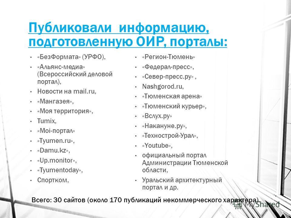 Публиковали информацию, подготовленную ОИР, порталы: «Без Формата» (УРФО), «Альянс-медиа» (Всероссийский деловой портал), Новости на mail.ru, «Мангазея», «Моя территория», Tumix, «Мoi-портал» «Тyumen.ru», «Damu.kz», «Up.monitor», «Tyumentoday», Спорт