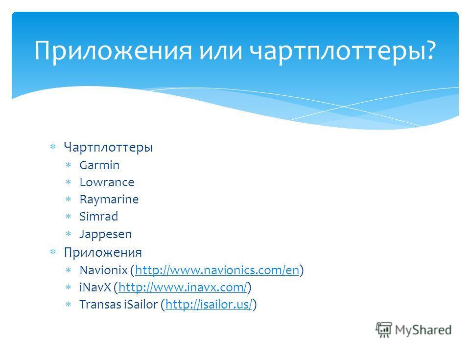 Чартплоттеры Garmin Lowrance Raymarine Simrad Jappesen Приложения Navionix (http://www.navionics.com/en)http://www.navionics.com/en iNavX (http://www.inavx.com/)http://www.inavx.com/ Transas iSailor (http://isailor.us/)http://isailor.us/ Приложения и