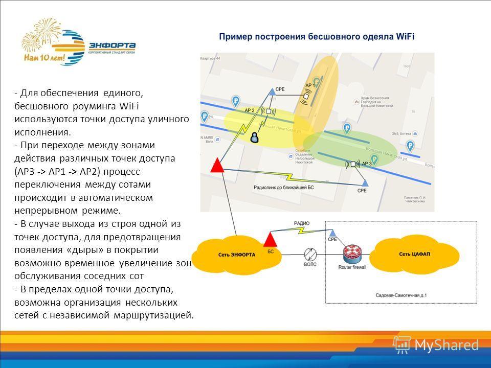 - Для обеспечения единого, бесшовного роуминга WiFi используются точки доступа уличного исполнения. - При переходе между зонами действия различных точек доступа (AP3 -> AP1 -> AP2) процесс переключения между сотами происходит в автоматическом непреры