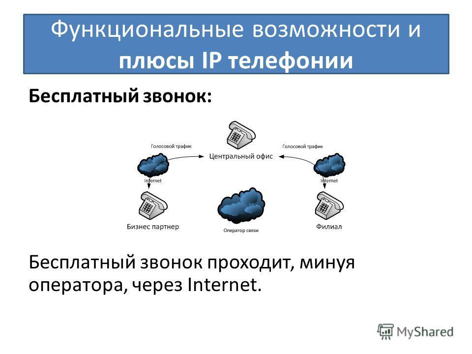 Функциональные возможности и плюсы IP телефонии Бесплатный звонок: Бесплатный звонок проходит, минуя оператора, через Internet.