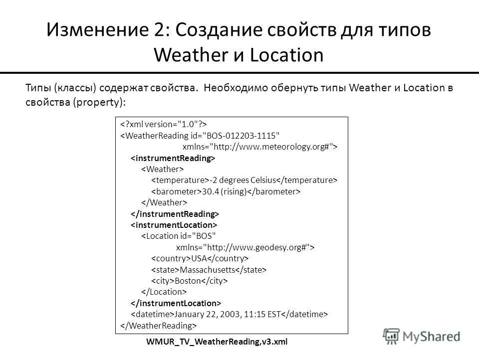 Изменение 2: Создание свойств для типов Weather и Location Типы (классы) содержат свойства. Необходимо обернуть типы Weather и Location в свойства (property):  -2 degrees Celsius 30.4 (rising)  USA Massachusetts Boston January 22, 2003, 11:15 EST WMU
