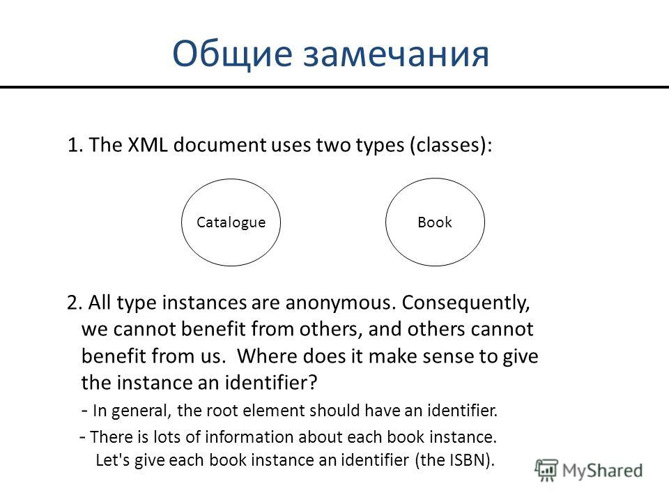 Общие замечания 1. The XML document uses two types (classes): Catalogue Book 2. All type instances are anonymous. Consequently, we cannot benefit from others, and others cannot benefit from us. Where does it make sense to give the instance an identif